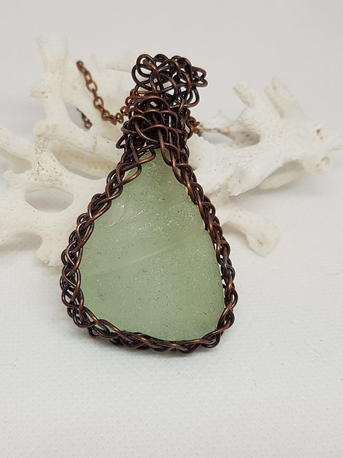 Vintage seaglass and kumihimo braid pendant