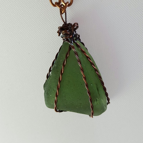 Olive green seaglass wire wrap