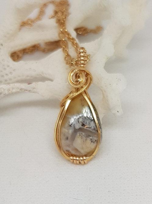 Dainty golden honey dendrite pendant