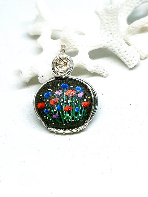 Handpainted Irish beach pebble silver pendant necklace