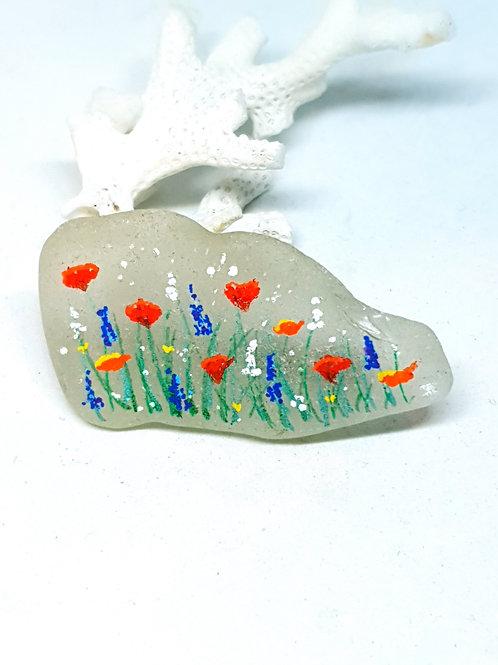 Hand painted seaglass wildflower brooch