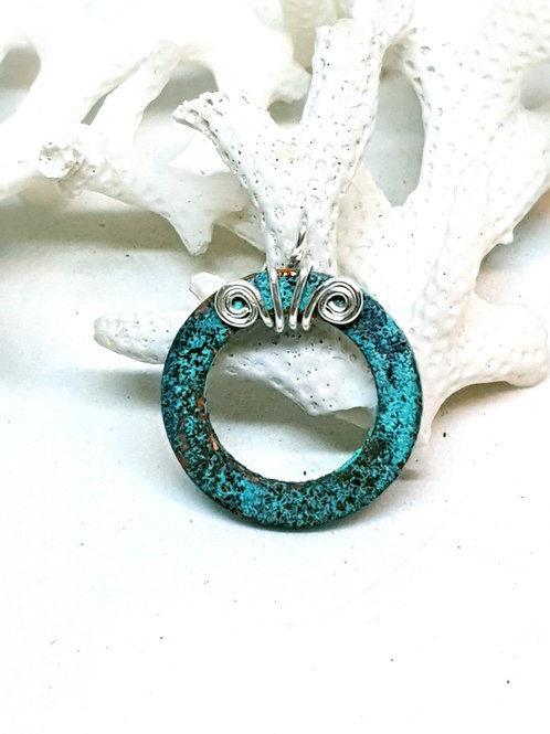 Turquoise patina copper washer pendant necklace