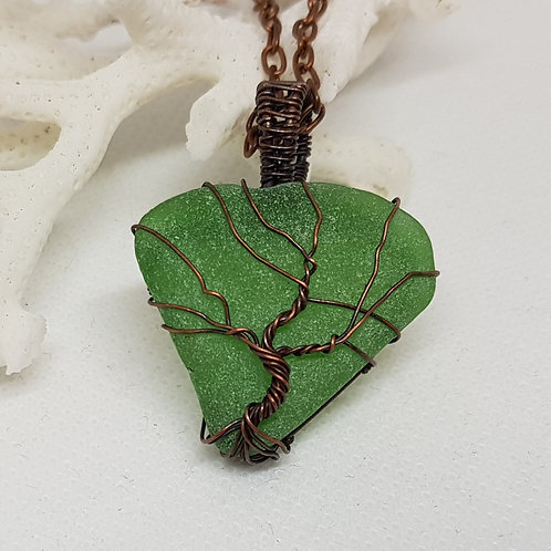 Irish seaglass - Kelly green tree of life pendant necklace