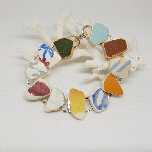 Irish sea pottery silver plated bracelet
