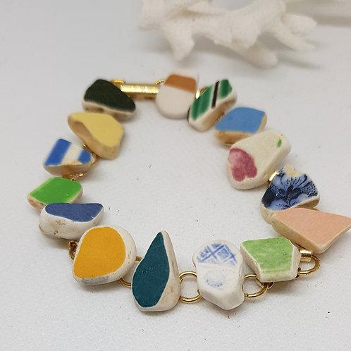 Irish sea pottery multicolour gold- plated bracelet