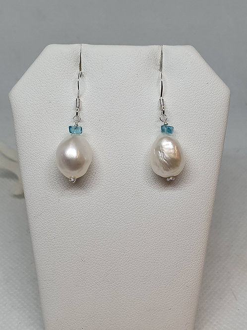 Baroque freshwater pearl and neon apatite sterling silver earrings
