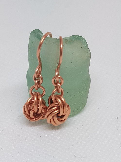 Mobius knot and chain copper chain maille earrings