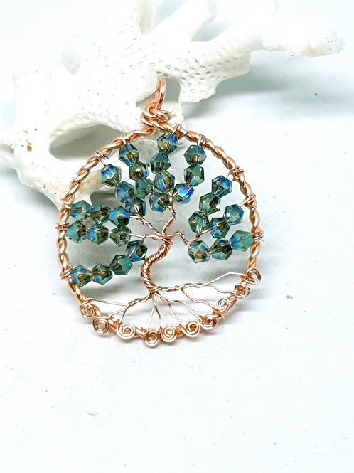 Rose gold copper and crystal tree of life pendant