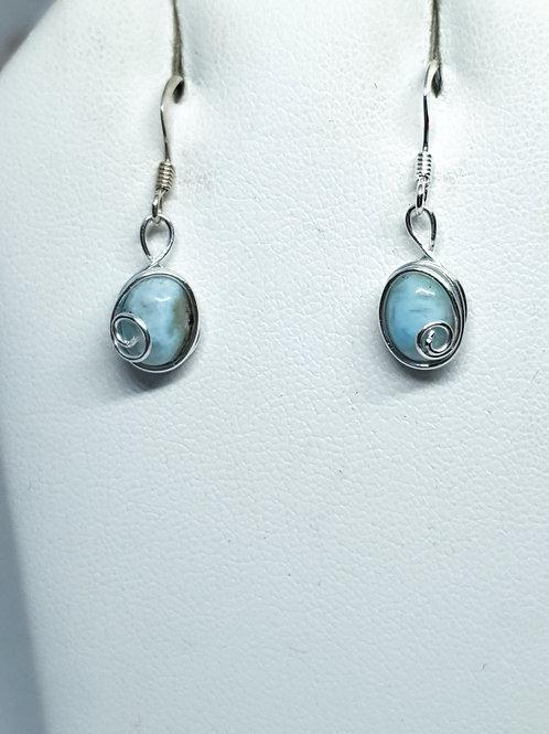 Dainty sterling silver and larimar drop earrings