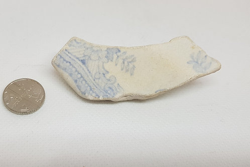 Blue and white sea pottery brooch