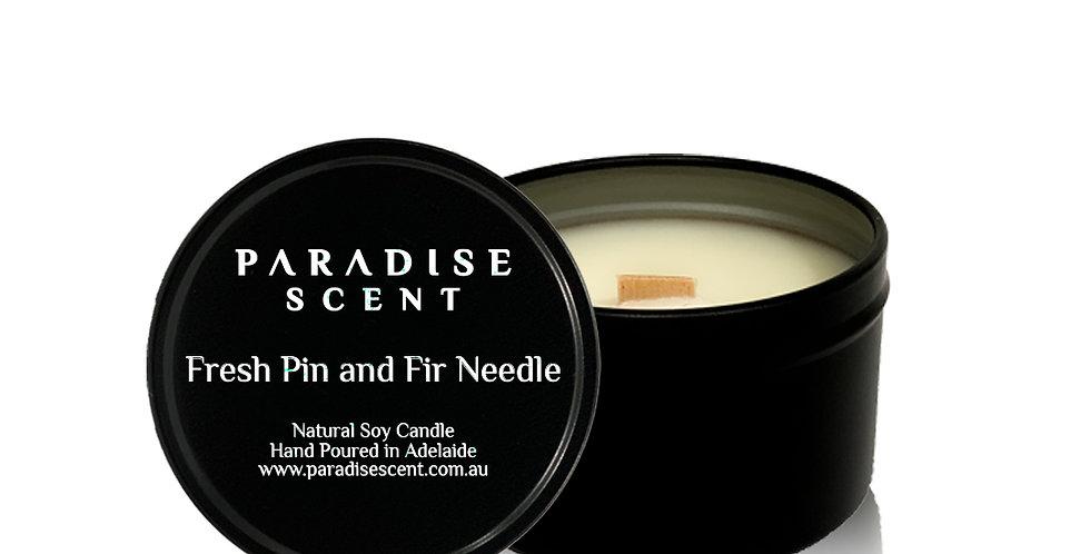 Fresh Pine & Fir Needle | 6oz-8oz Soy Tin Candle | Wooden Wick