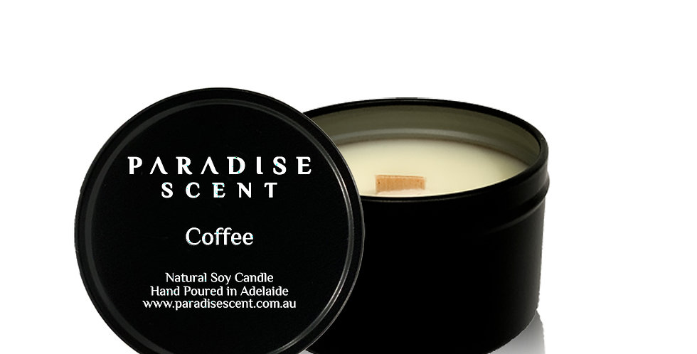 Coffee   6oz-8oz Soy Tin Candle   Wooden Wick