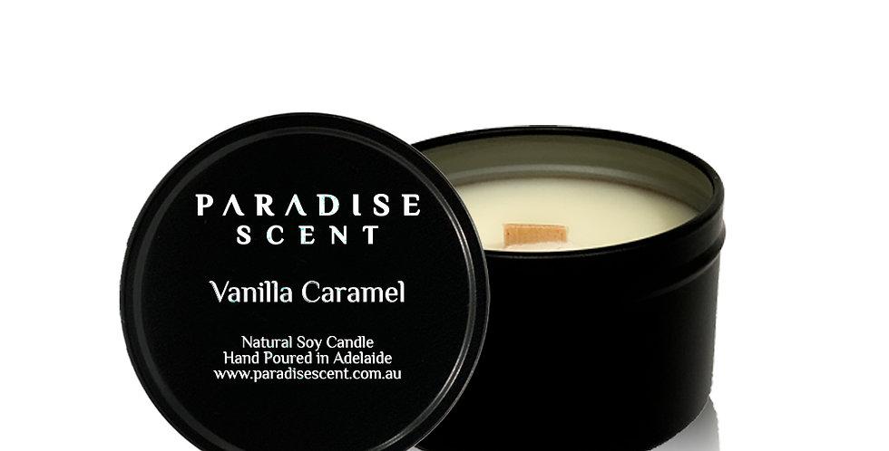 Vanilla Caramel | 6oz-8oz Soy Tin Candle | Wooden Wick