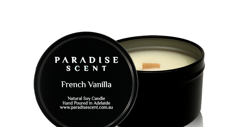 French Vanilla | 6oz-8oz Soy Tin Candle | Wooden Wick