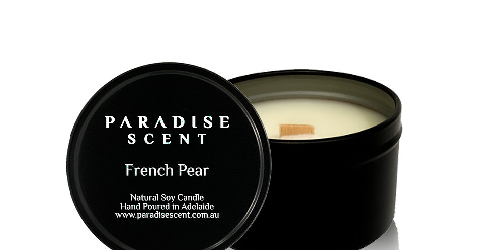 French Pear | 6oz-8oz Soy Tin Candle | Wooden Wick