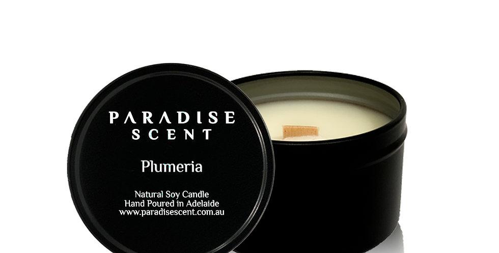 Plumeria | 6oz-8oz Soy Tin Candle | Wooden Wick