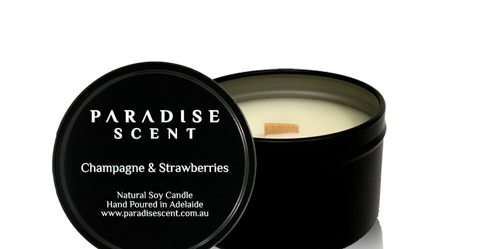 Champagne & Strawberries | 6oz-8oz Soy Tin Candle | Wooden Wick