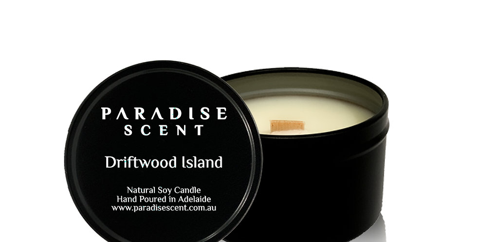 Driftwood Island   6oz-8oz Soy Tin Candle   Wooden Wick