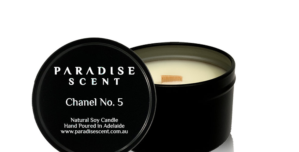 Chanel No. 5 | 6oz-8oz Soy Tin Candle | Wooden Wick