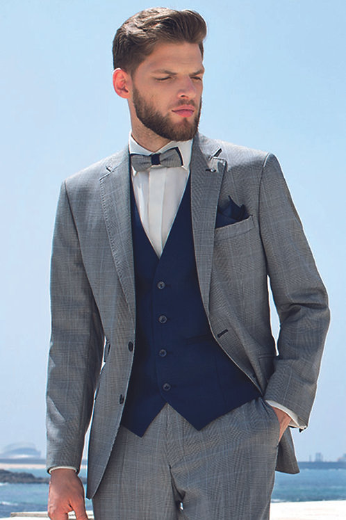 Grey Check with Blue Waistcoat