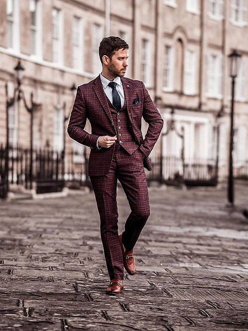 Carly Wine Check 3 Piece Suit
