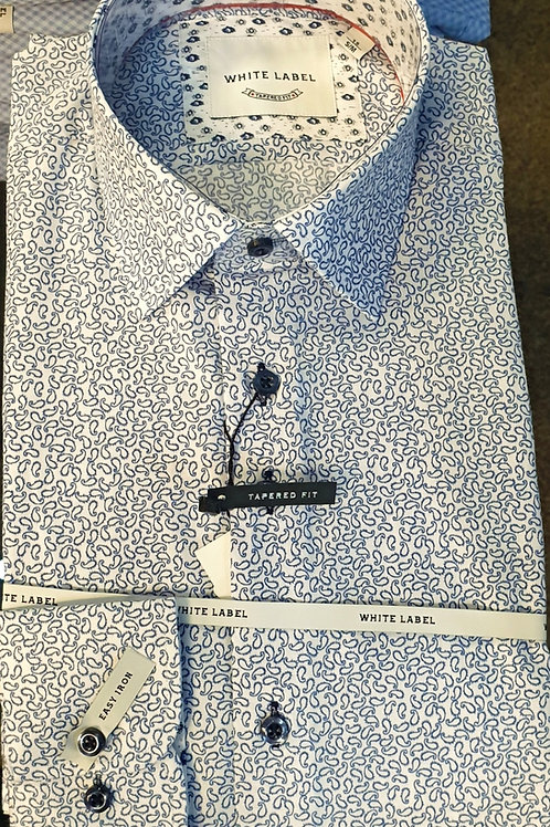 Pattern Shirt by White Label 8323 White Blue