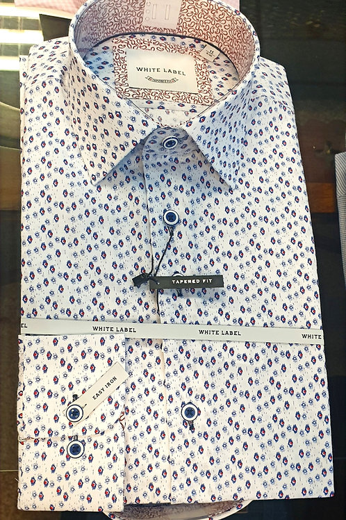 Pattern Shirt by White Label 8324 Blue/Red
