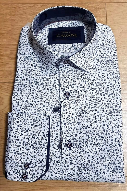 Floral Print Cavani Shirt CV-655 White & Navy