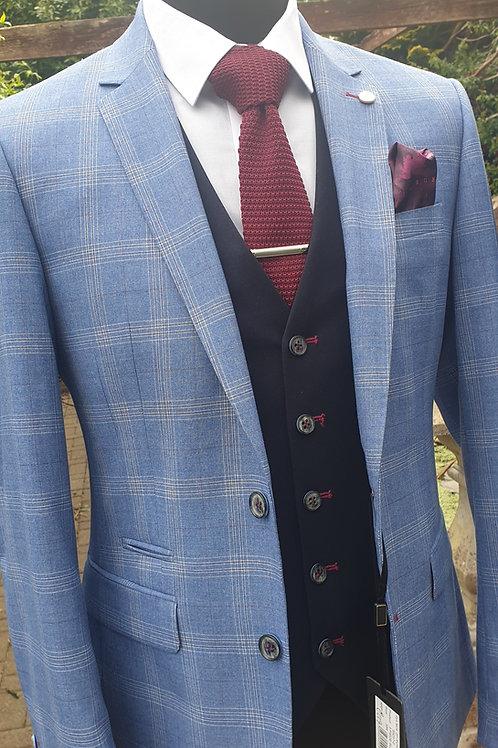 6th Sense Light Blue/Cream Check Richard 3 Piece Suit