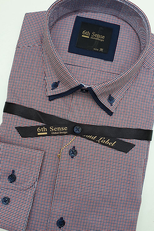 6th Sense Red Pattern Double Collar Fitted Shirt 192-DC-DOB-12A