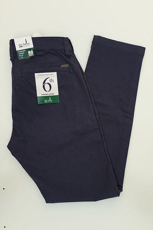 6th Sense Blue Fitted Chinos