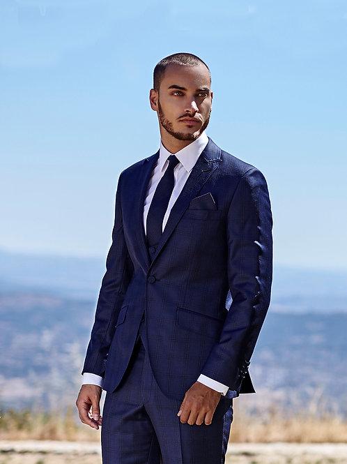 Torre Gustav Navy Check 3 piece suit, scoop waistcoat