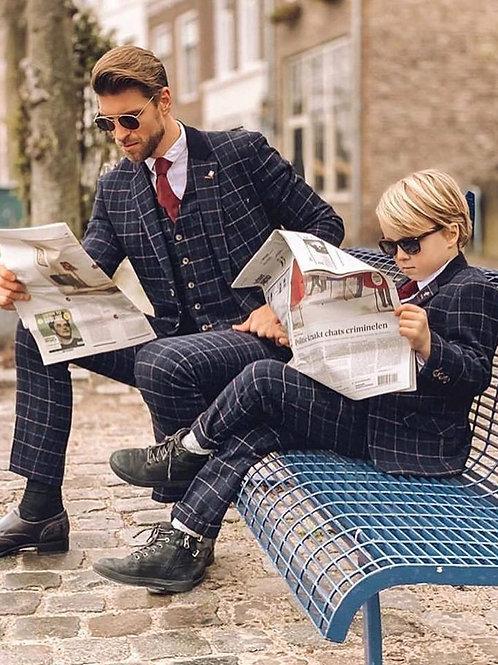 Shelby Navy 3 Piece Tweed Suit