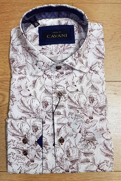 Burgundy Floral Leaf Cavani Shirt CV 656 Burgundy