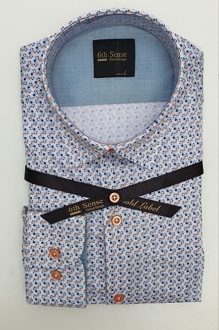 6th Sense Print Fitted Shirt 201-SC-PRINT-1A