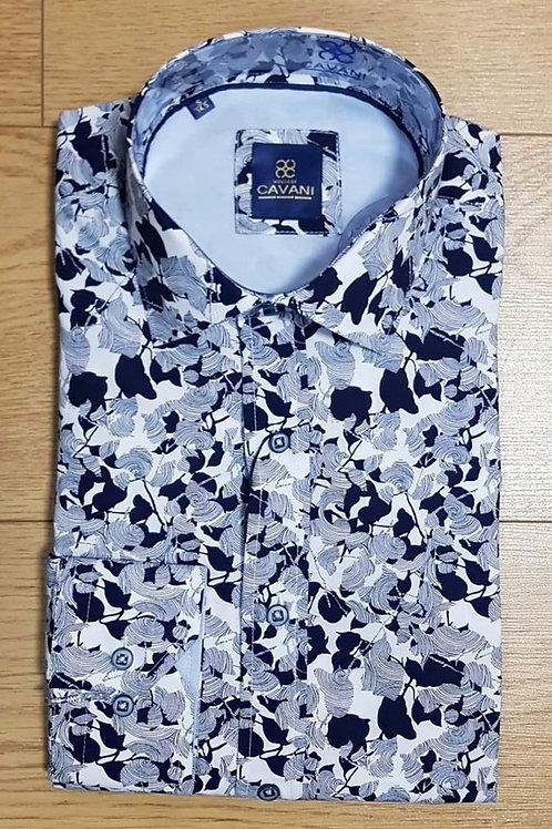 Cavani Print Shirt CV 807 Navy/White