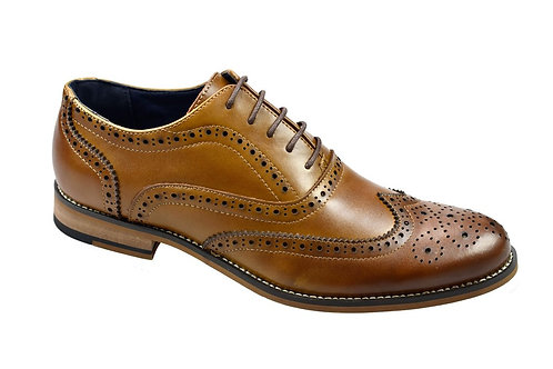 Oxford Tan Leather Brogue Shoe