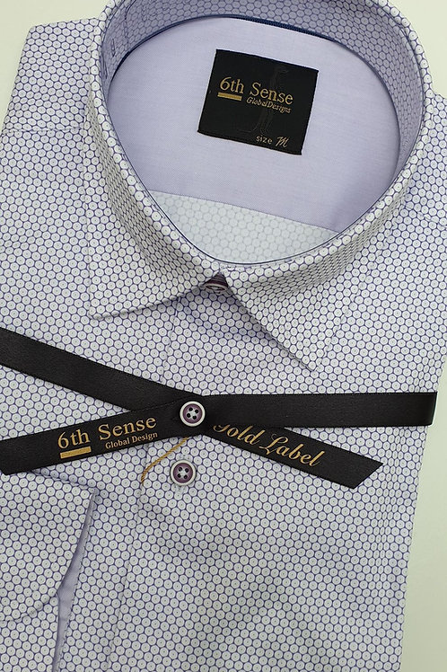 6th Sense Lilac Pattern Fitted Shirt 201-SCPRINT -38