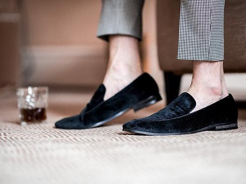 Milan Navy Velvet Loafers