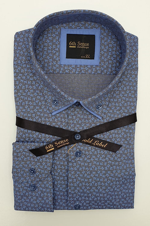 6th Sense Print Double Collar Fitted Shirt 192-DC-PRINT-22A
