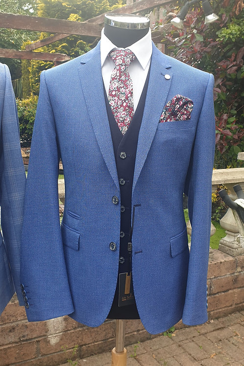 6th Sense Blue Textured Reagan 3 Piece Suit