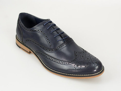 Oxford Navy Leather Brogue Shoe