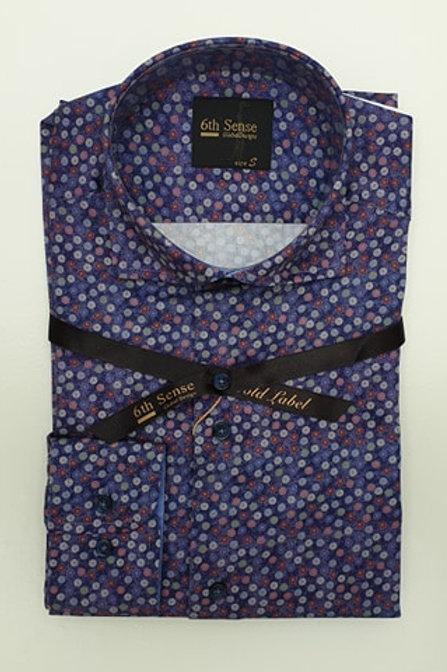 6th Sense Purple Print  Fitted Shirt 192-CAC-PRINT-25A