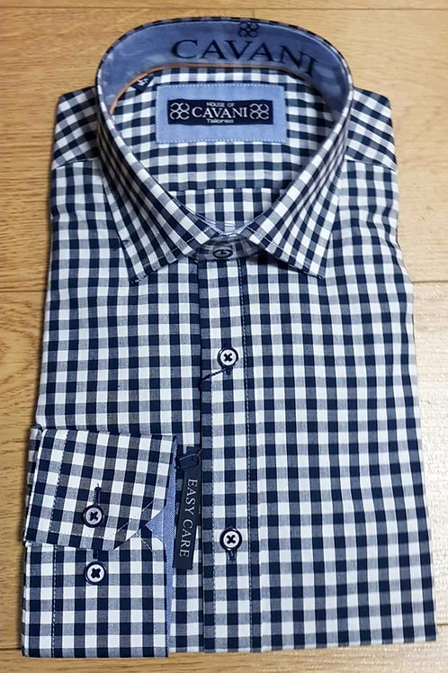Navy Check Cavani Shirt CV-603 Navy/White