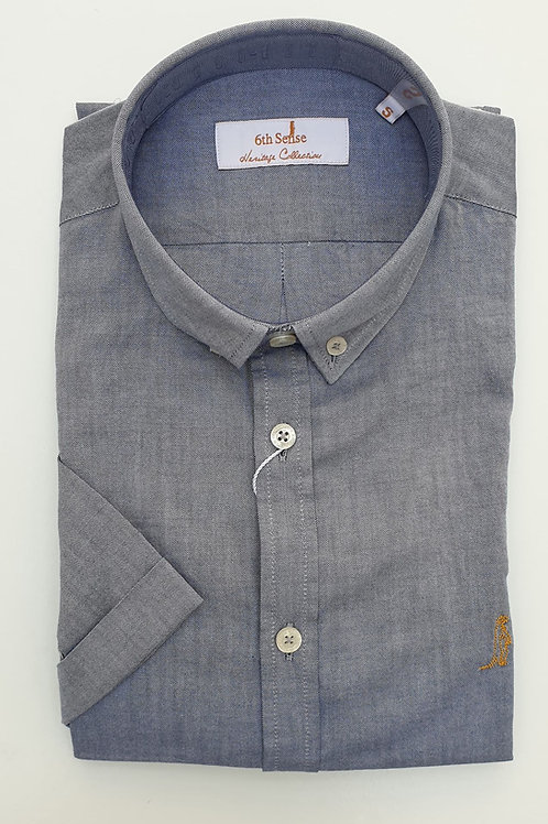 6th Sense Slim Fit Short Sleeve Heritage Shirt with Double Collar 7