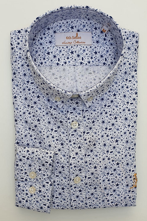 6th Sense Navy/White Heritage Double Collar Fitted Shirt 201-HERITAGE-LS-PRINT-4