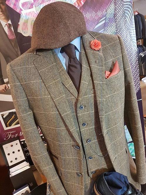 Albert Brown Tweed 3 Piece Suit