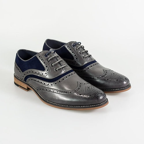 Ethan Grey/ Navy Brogue Shoes