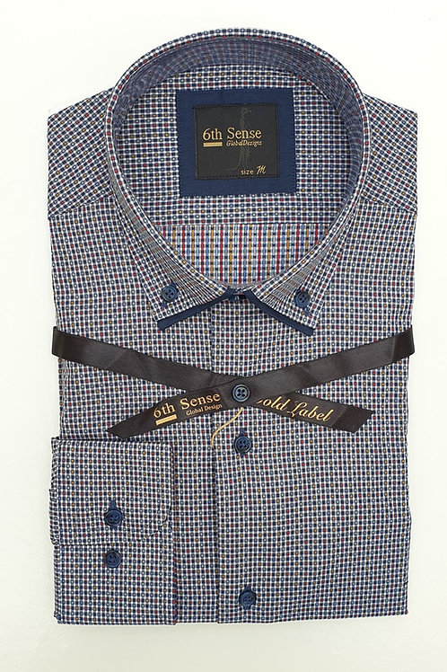 6th Sense Red Navy Check Print Double Collar Fitted Shirt 192-DC-CHECK-01A