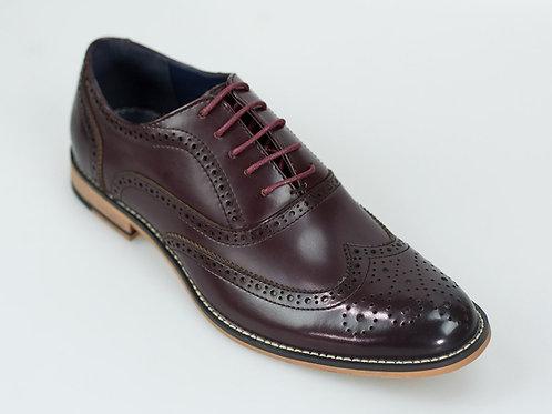 Oxford Wine Leather Brogue Shoe